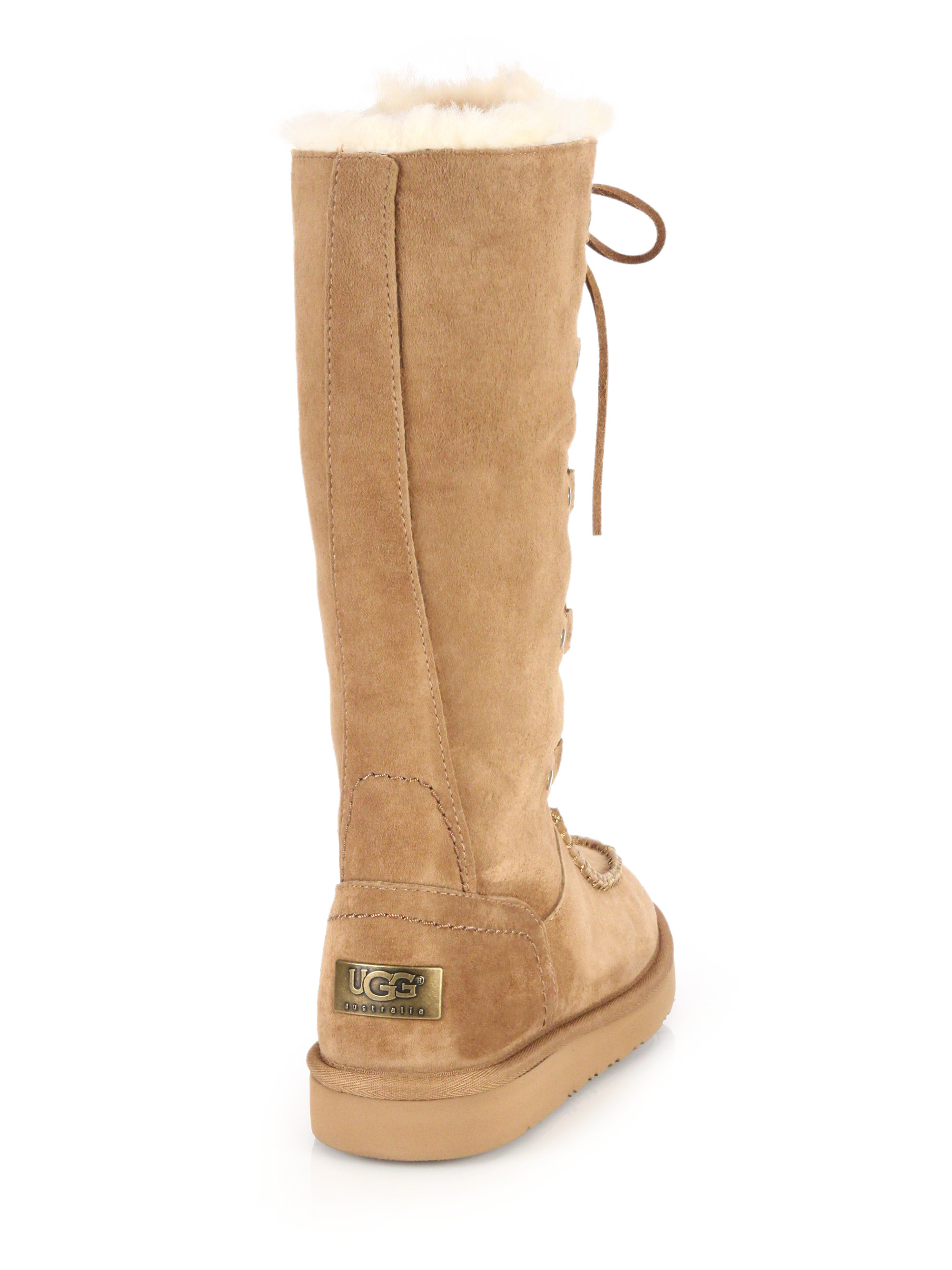 72de8c0b820 UGG Brown Appalachian Lace-up Shearling-lined Suede Boots