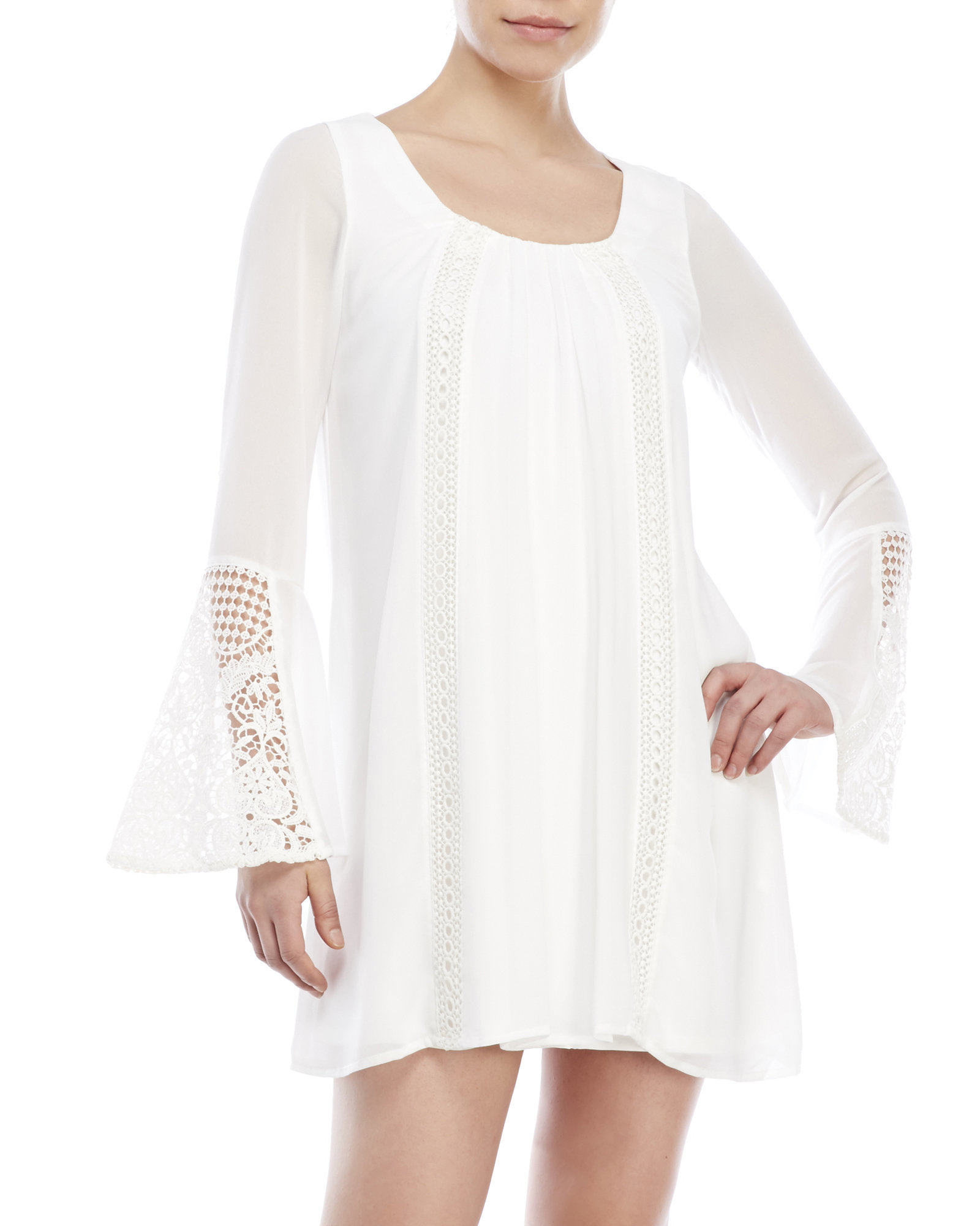 6f86eb964 Sequin Hearts Long Sleeve Crochet-Inset Dress in White - Lyst
