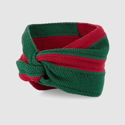 gucci web cotton headband in green lyst