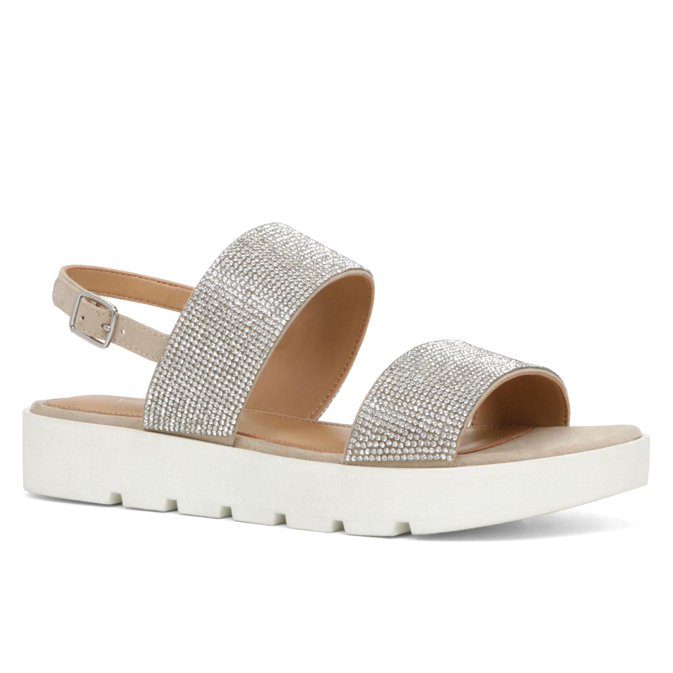 Aldo Eowenna Flatform Sandals In Metallic Lyst