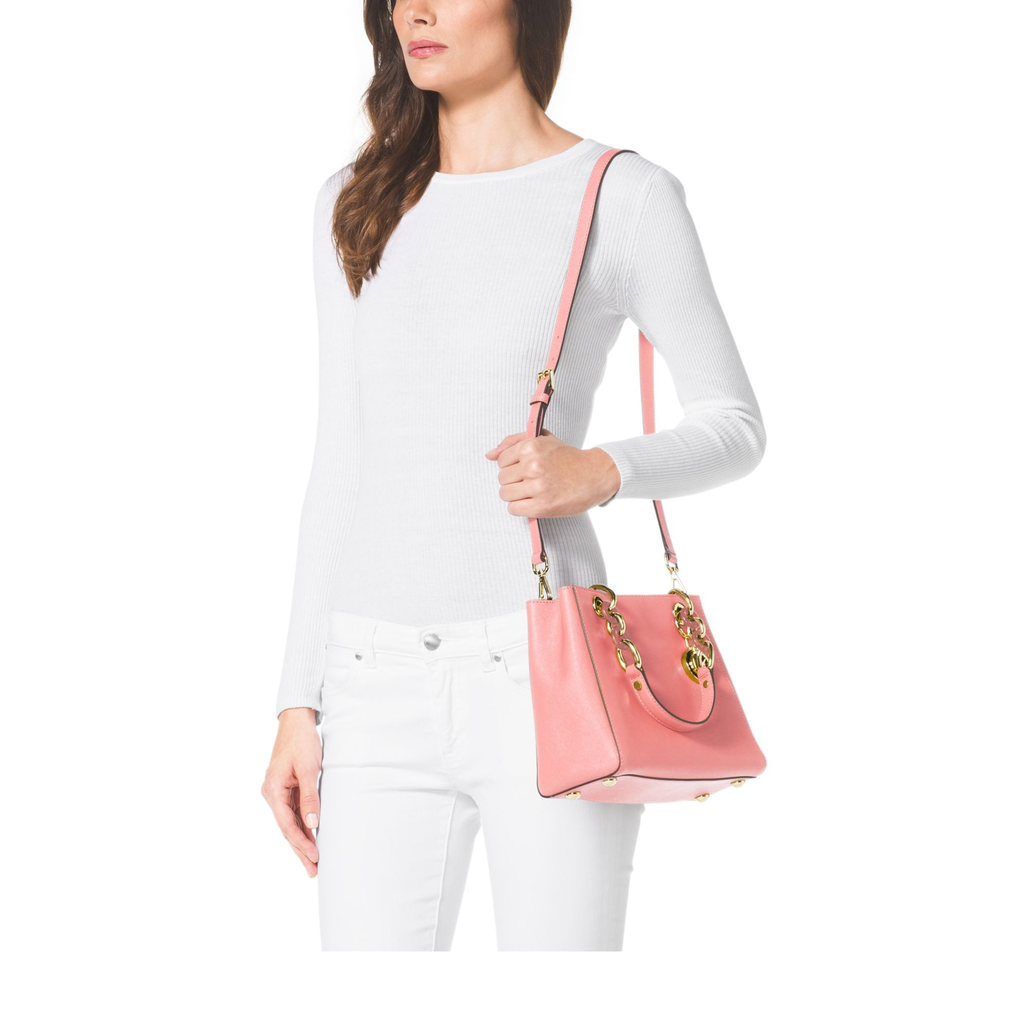 f052517e83aa Lyst - Michael Kors Cynthia Small Leather Satchel in Pink