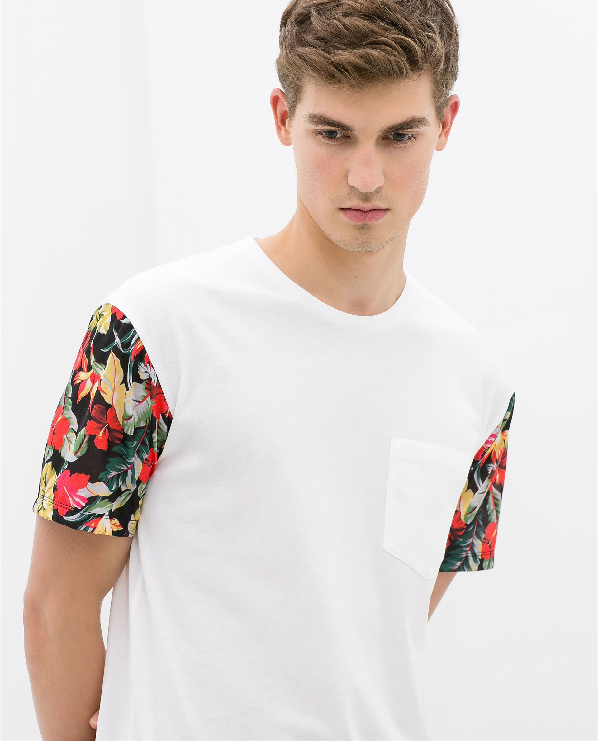 zara tshirt with floral sleeve in white for men lyst