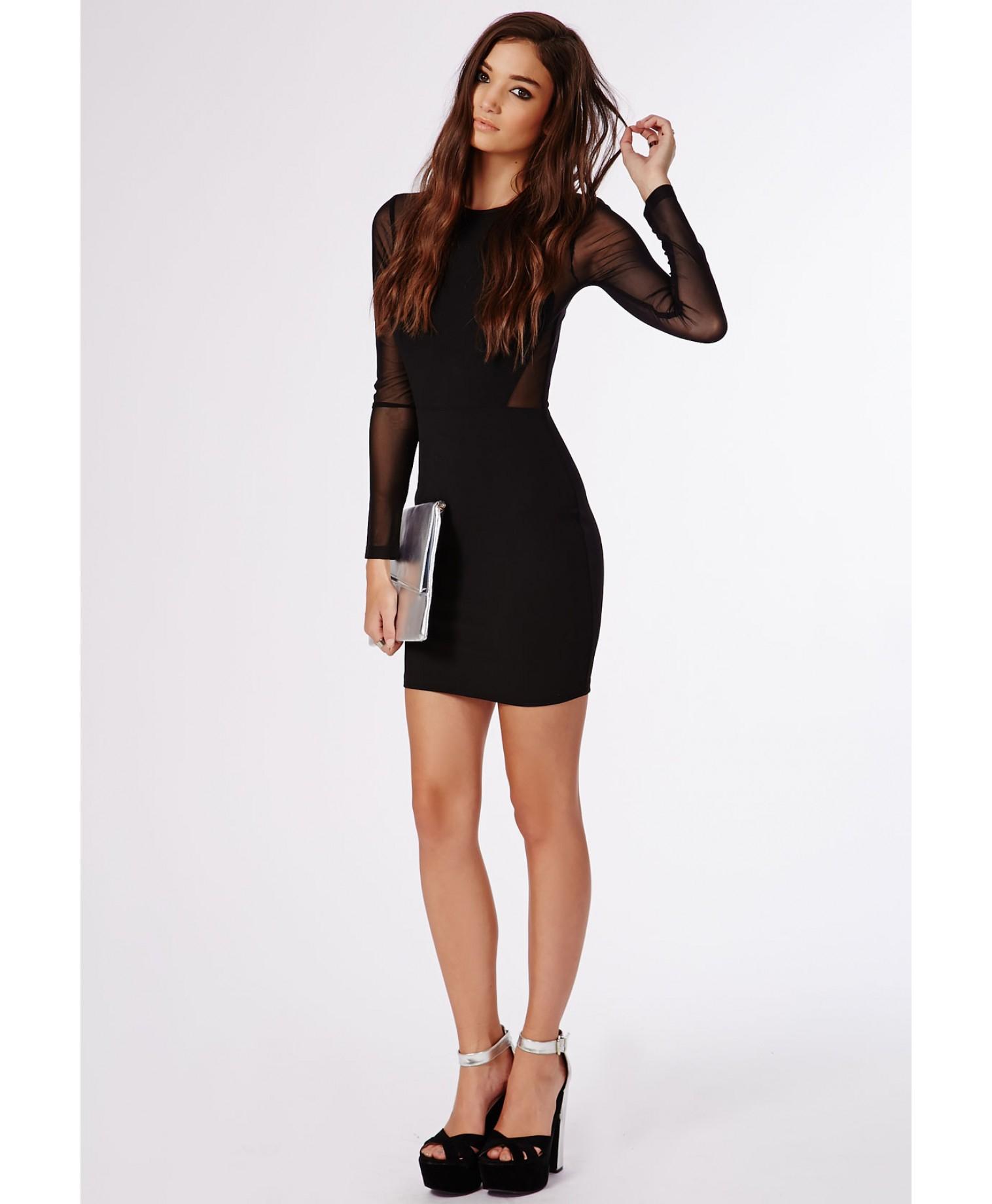 Black long sleeve bodycon dress mesh