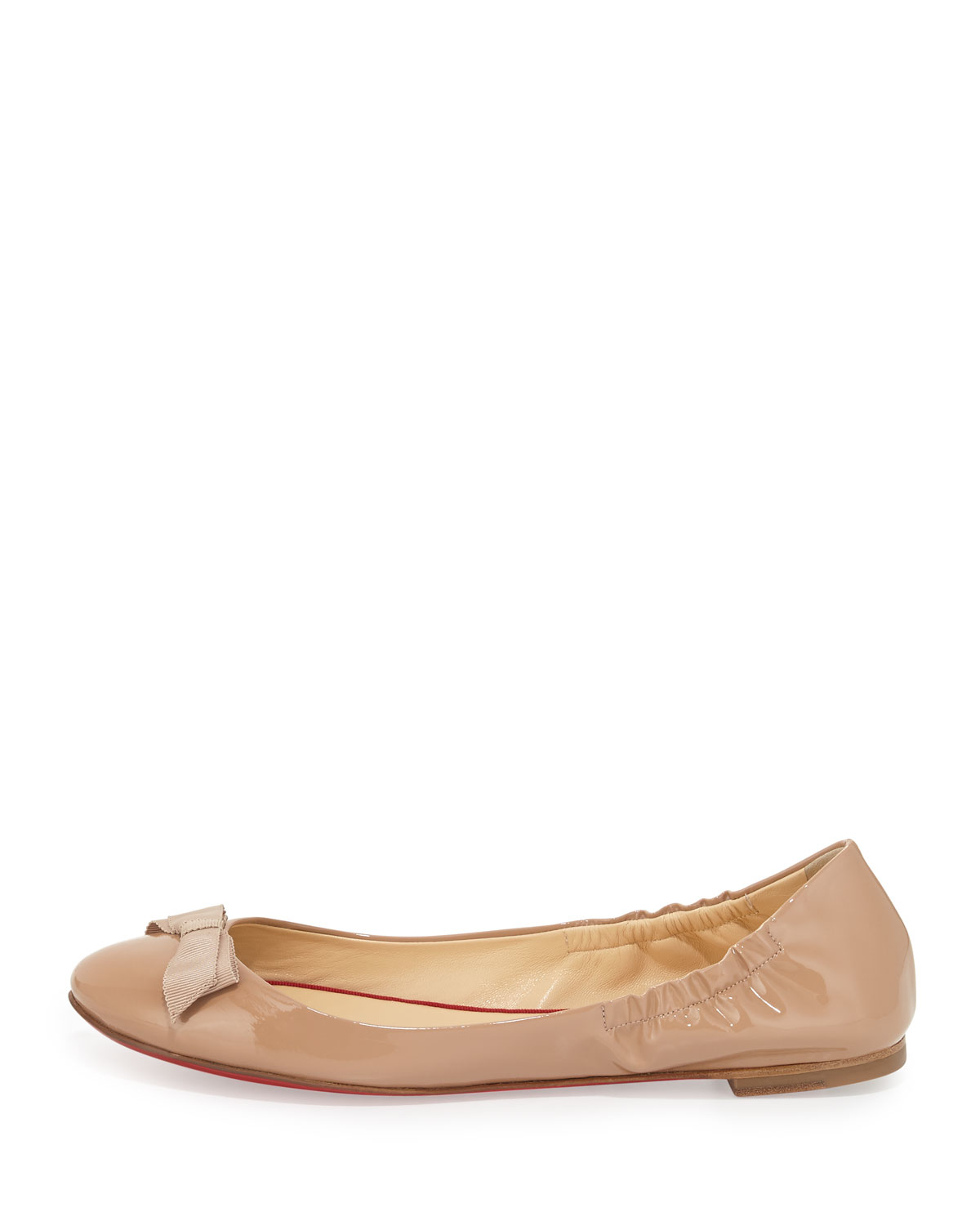 huge discount 1916c a814e Christian Louboutin Natural Gloriana Patent-Leather Ballet Flats