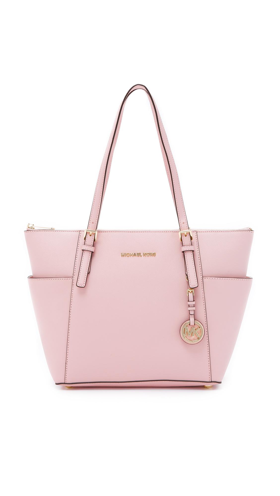 d4f500e14da6 MICHAEL Michael Kors Jet Set Top-zip Saffiano Tote Bag in Pink - Lyst