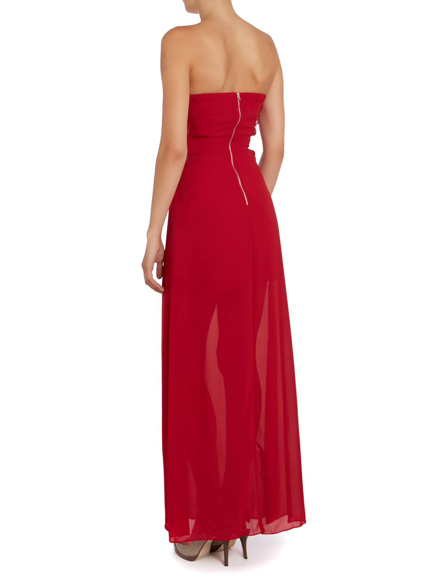 Tfnc london Strapless Lace Insert Maxi Dress in Red | Lyst