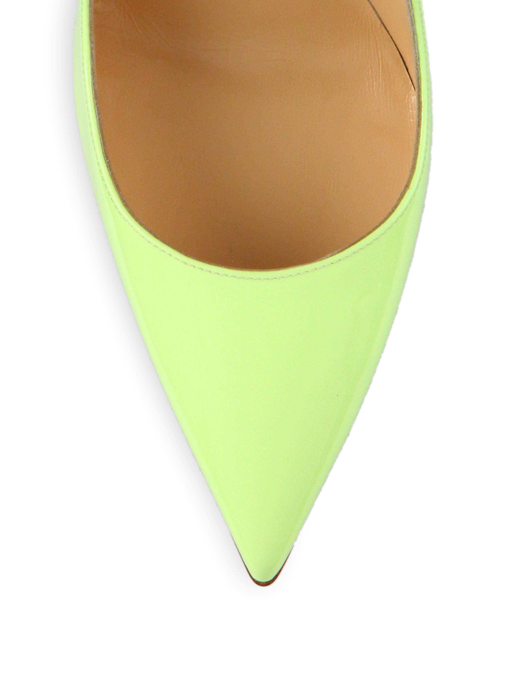 christian louboutin pointed-toe pumps Green patent leather | The ...