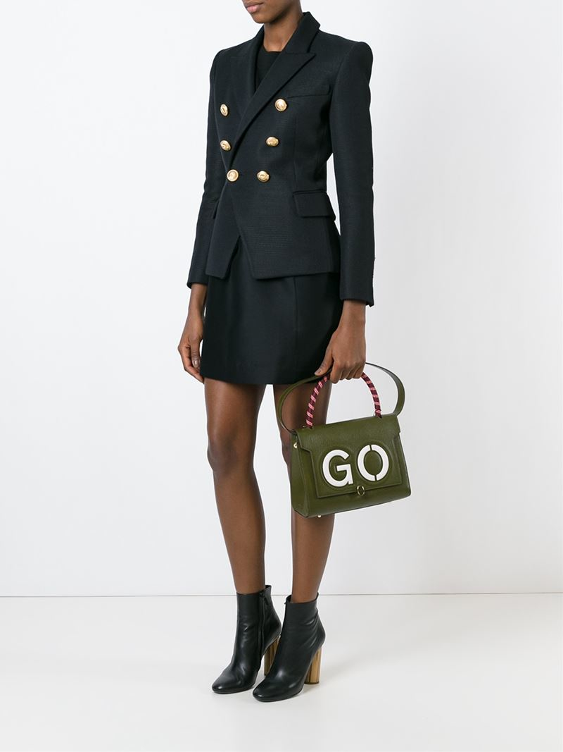 Anya Hindmarch Leather Small 'go Bathurst' Tote in Olive (Green)