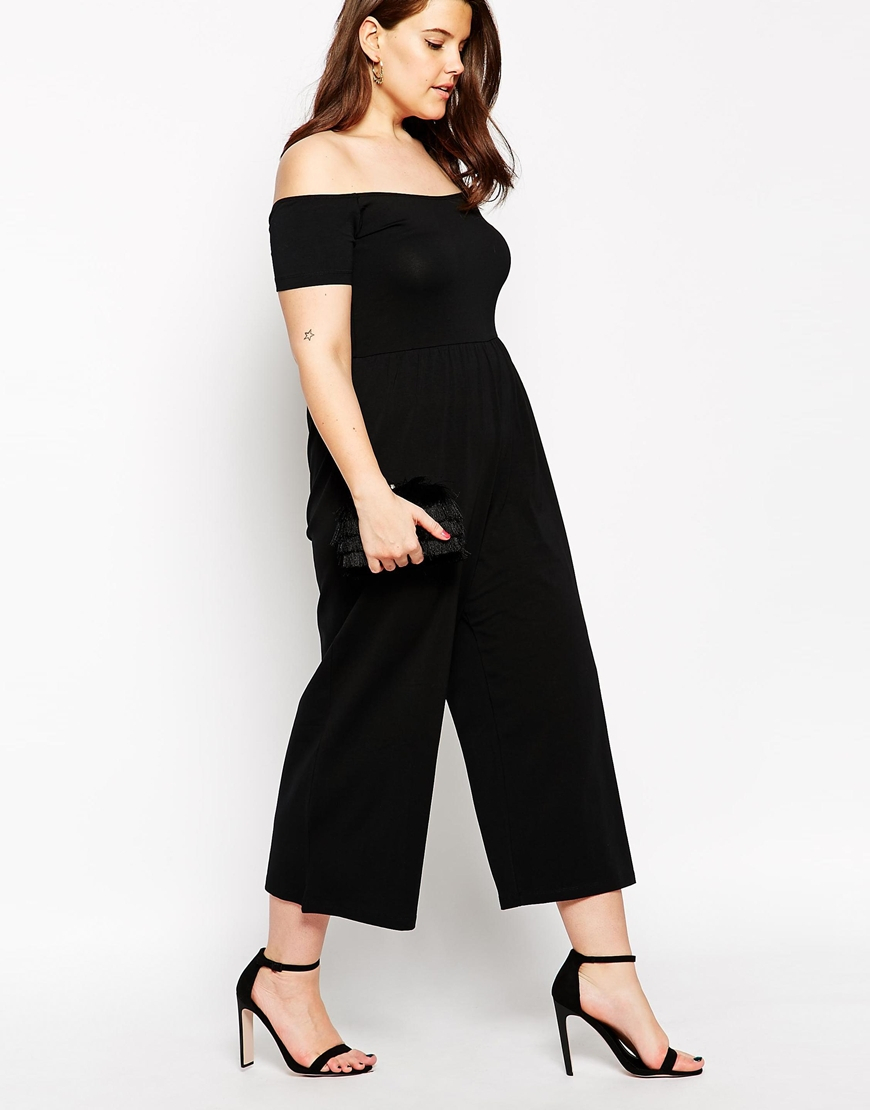 ASOS Bardot Jumpsuit With Cropped Wide Leg in Black - Lyst
