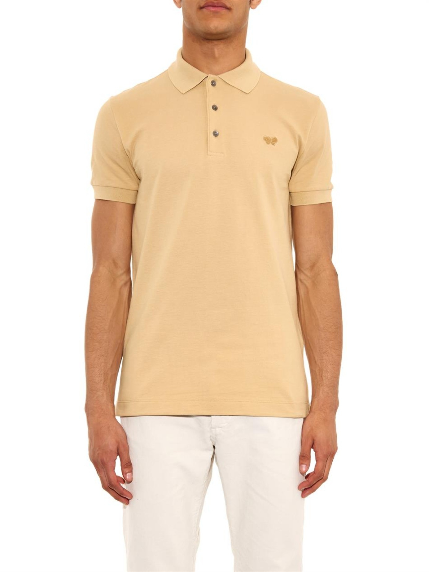 Lyst bottega veneta cotton piqu polo shirt in natural for Bottega veneta t shirt