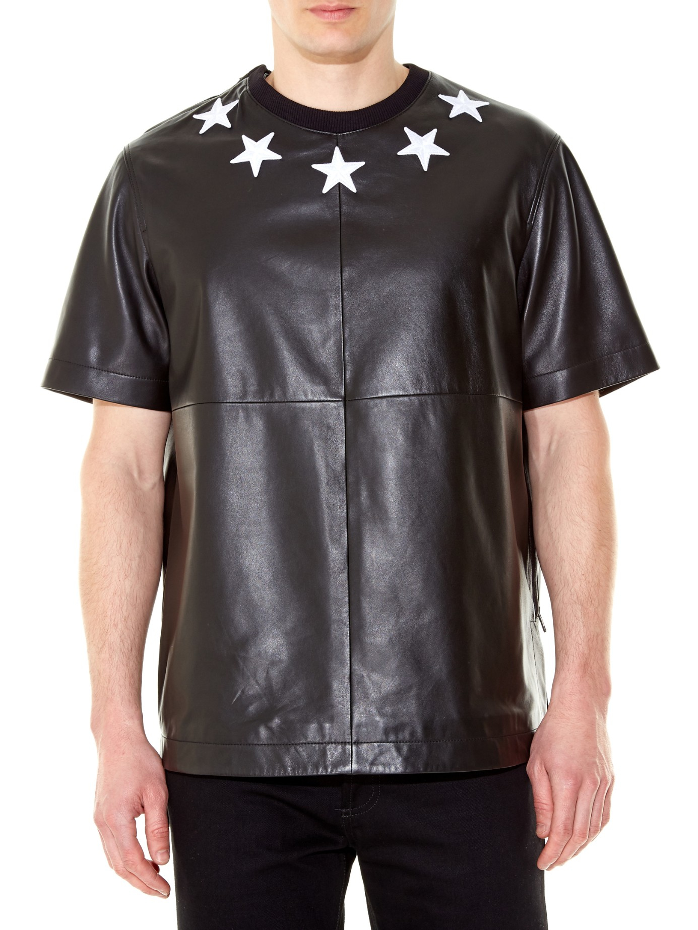 Givenchy star embroidered leather t shirt in black for men for Givenchy 5 star shirt