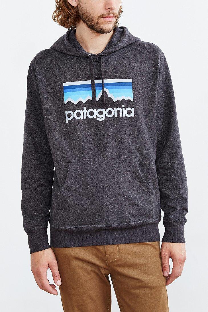 Patagonia Logo Hooded Sweatshirt In Black For Men Lyst