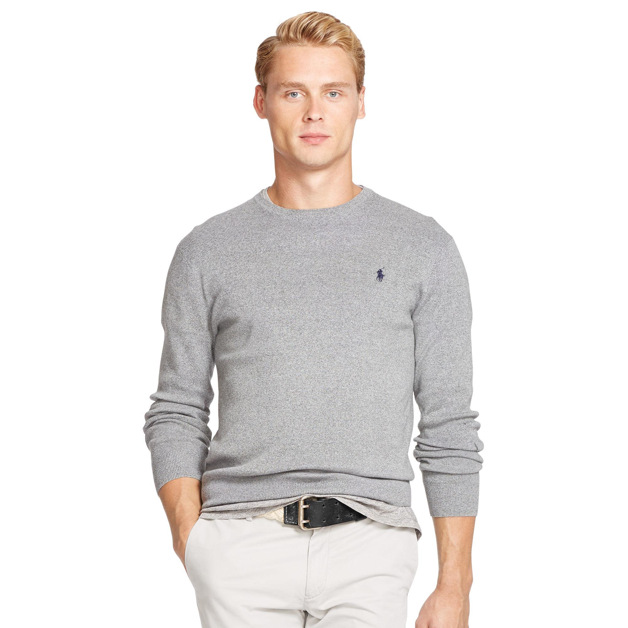 34d3a84efaac4 Polo Ralph Lauren Pima Cotton Crewneck Sweater in Gray for Men - Lyst