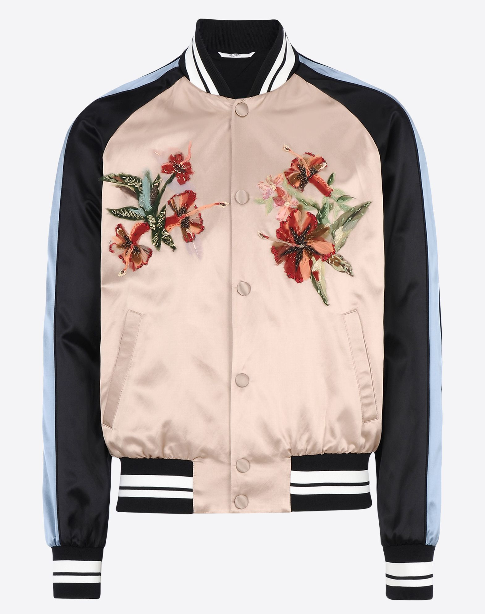 Valentino hawaii embroidered bomber jacket in pink for men