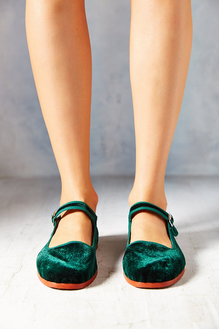 Lyst Urban Outfitters Velvet Mary Jane In Green