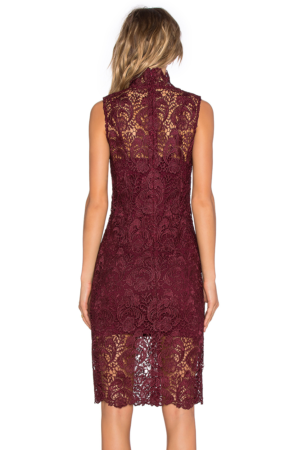 Blaque Label High Neck Lace Dress In Purple | Lyst
