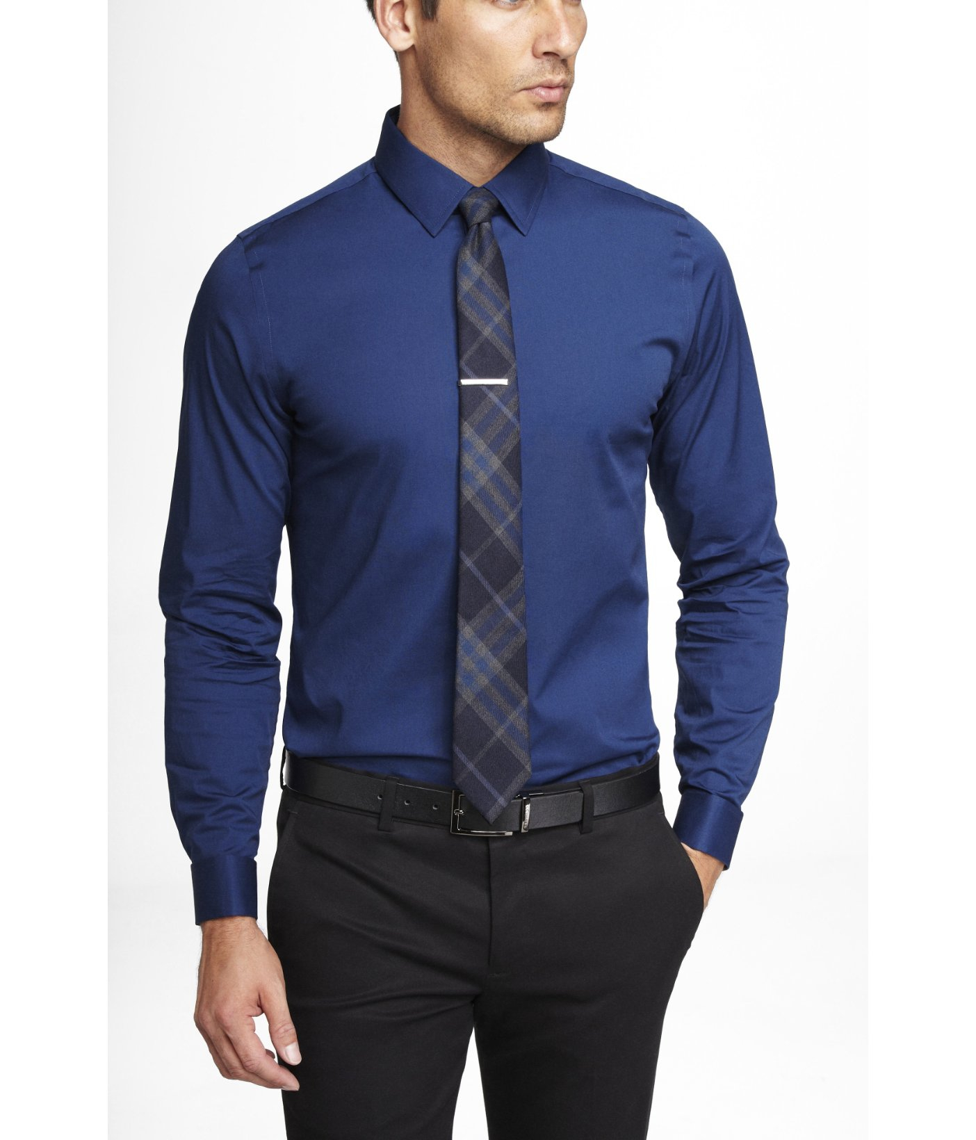 Express fitted french cuff 1mx shirt in blue for men for Cuff shirts for men