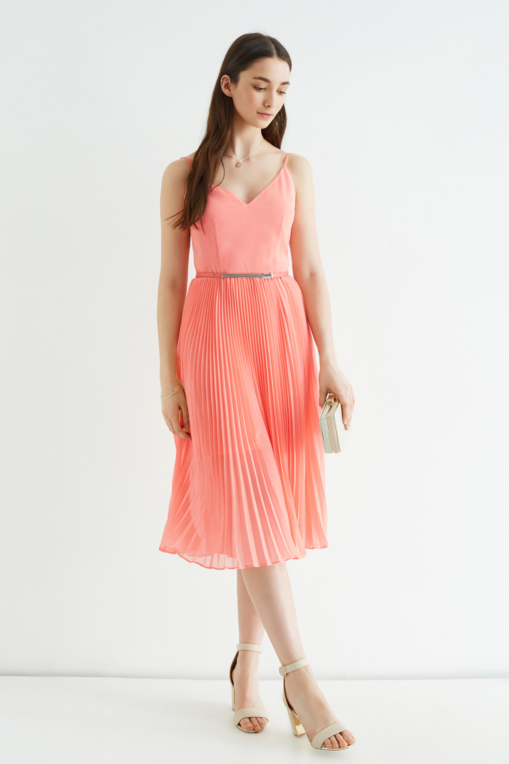 Oasis Pleated Midi Dress In Pink Lyst