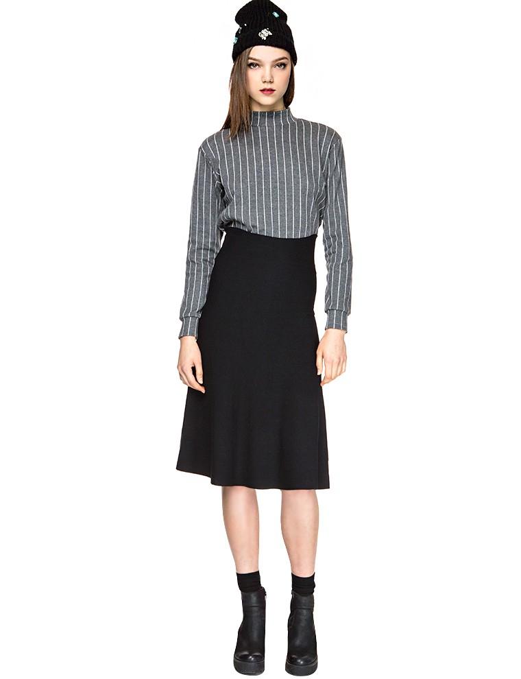 pixie market black knit high waisted midi skirt in black