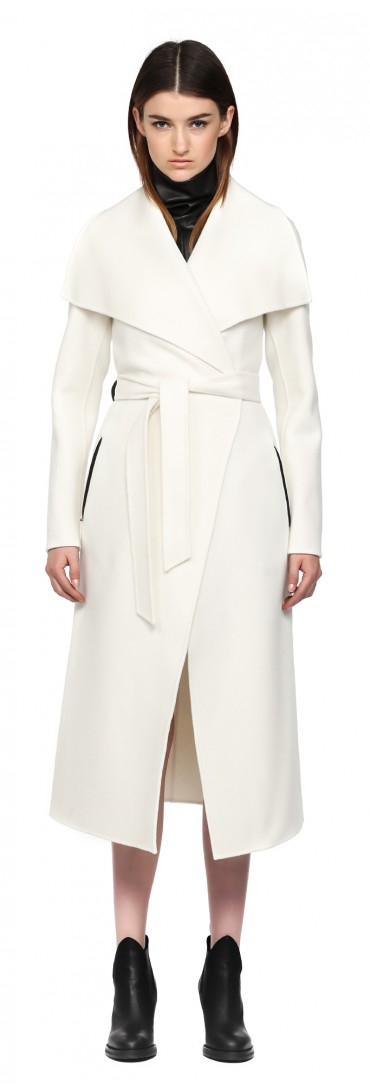 Mackage Mai-f5 Off White Long Doubleface Wool Coat in White | Lyst