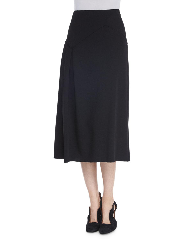 agnona asymmetric pleated wool midi skirt in black lyst