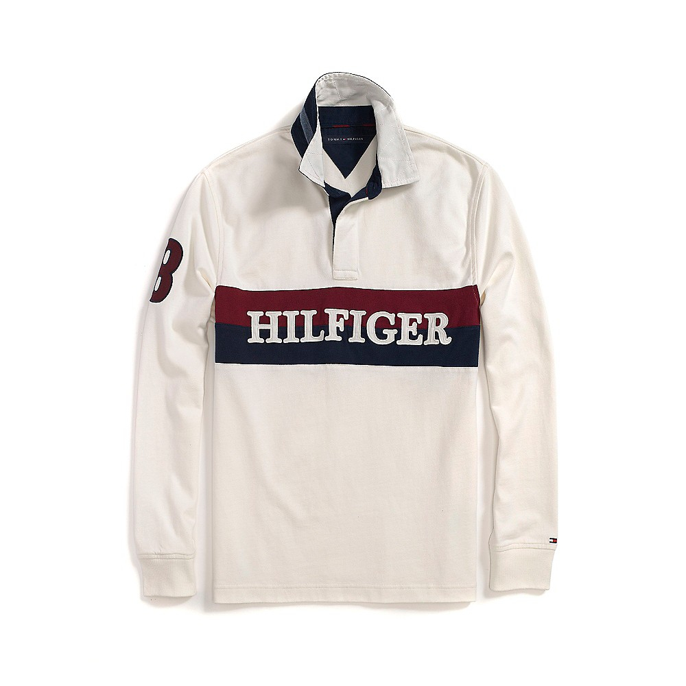 Tommy hilfiger Long Sleeve Rugby in White for Men (SNOW ...