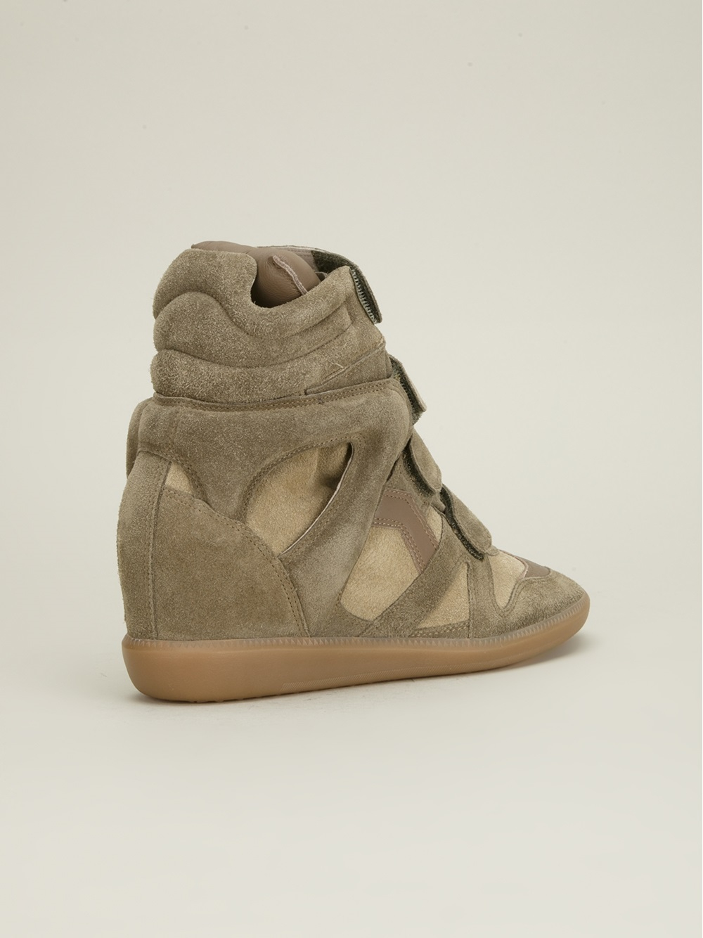 isabel marant bekett suede high top wedge sneakers in green navy lyst. Black Bedroom Furniture Sets. Home Design Ideas