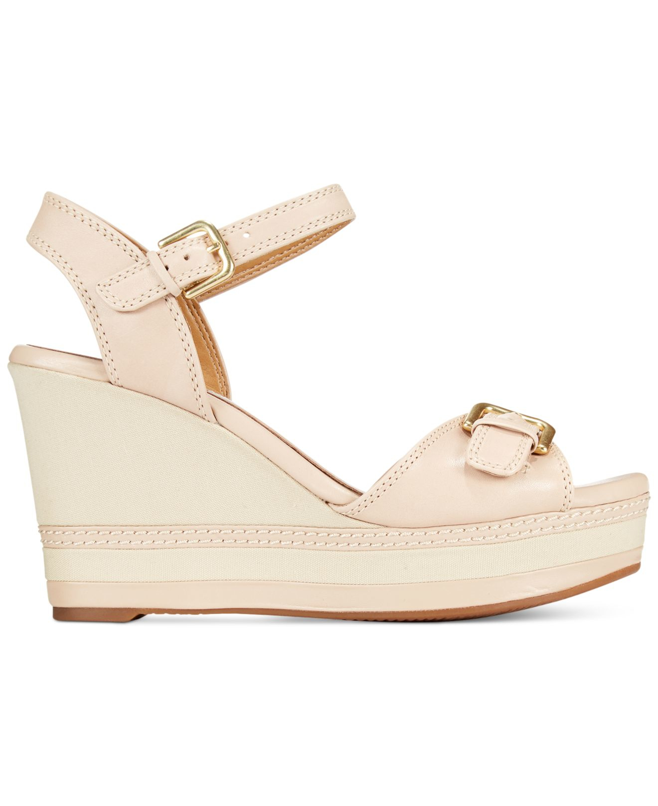 5301b407093 Lyst - Clarks Collection Women s Zia Castle Wedge Sandals in Natural