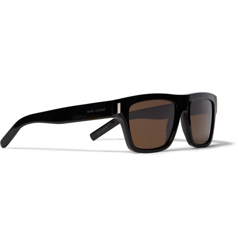 Lyst - Saint Laurent Sl5 Square-Frame Acetate Sunglasses in Black ...