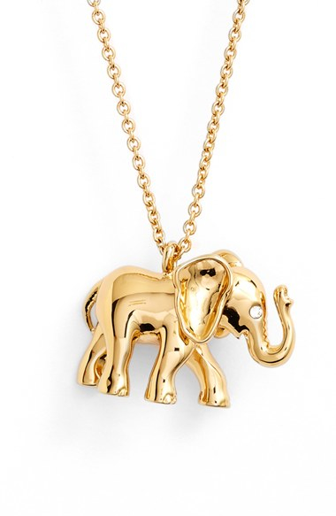 Lyst kate spade new york elephant pendant necklace in metallic gallery aloadofball Choice Image