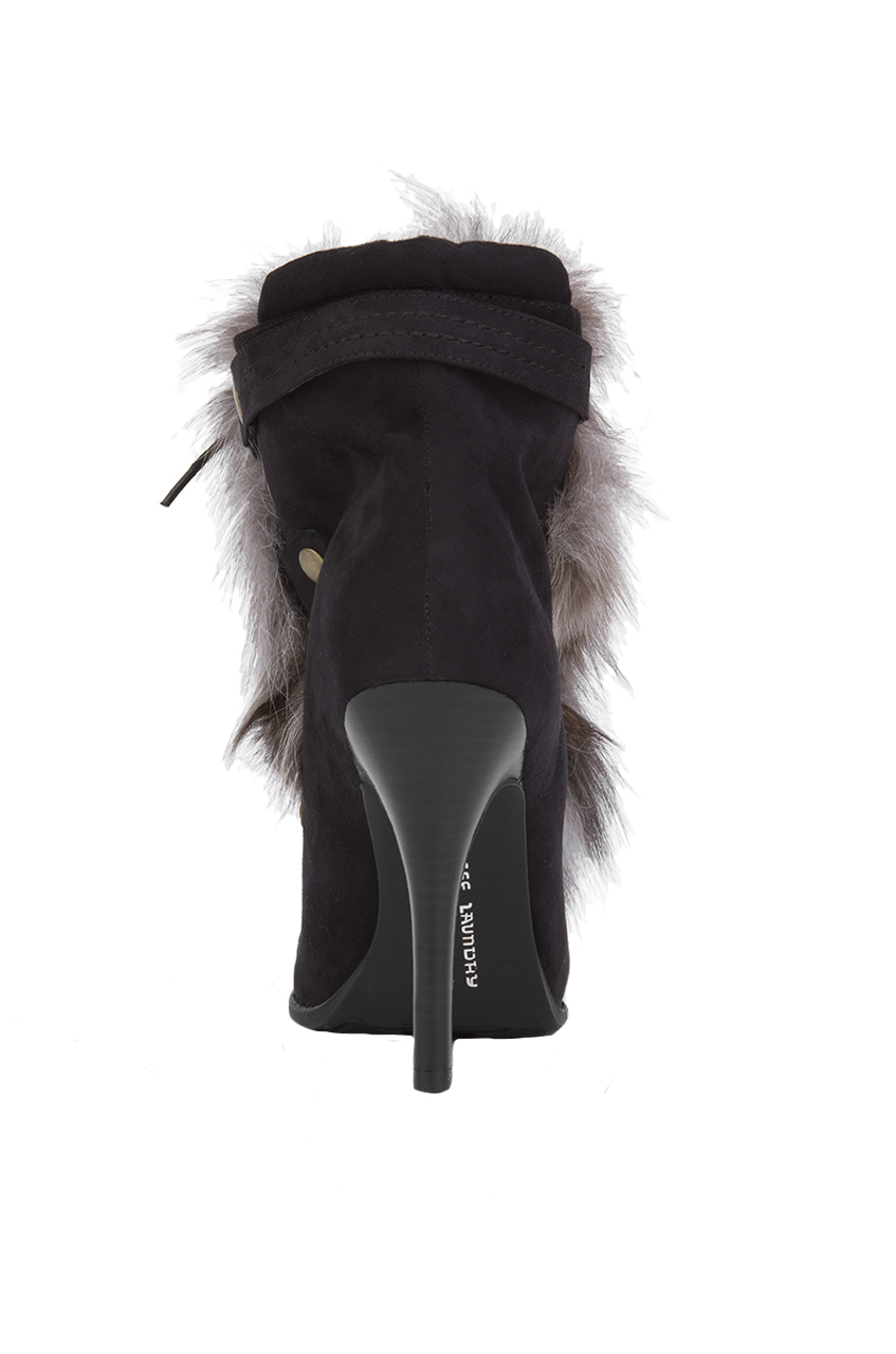 Chinese Laundry Hurry-up Faux Suede Fur Ankle Boots - Black