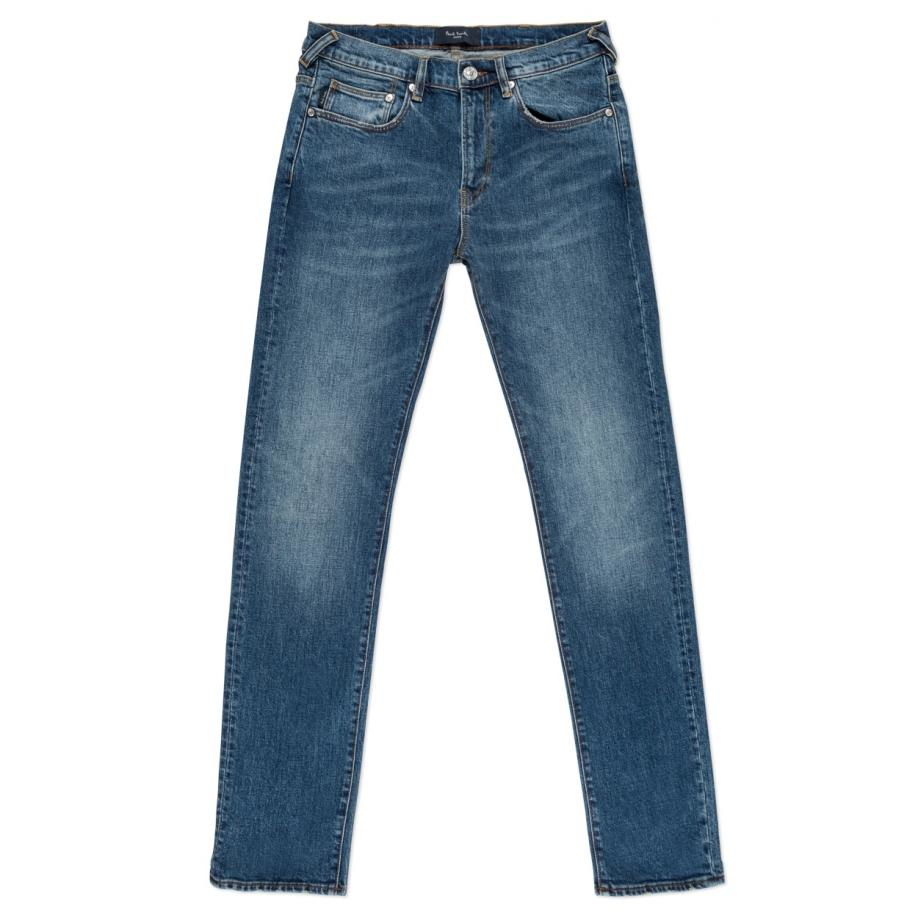 Paul Smith Denim Men's Straight-fit Red-cast Flat Vintage Mid-wash Jeans in Blue for Men