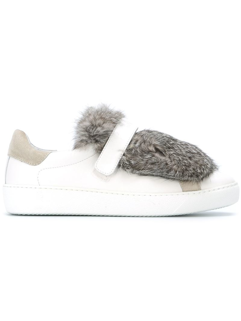 Moncler Fur Panel Sneakers in White