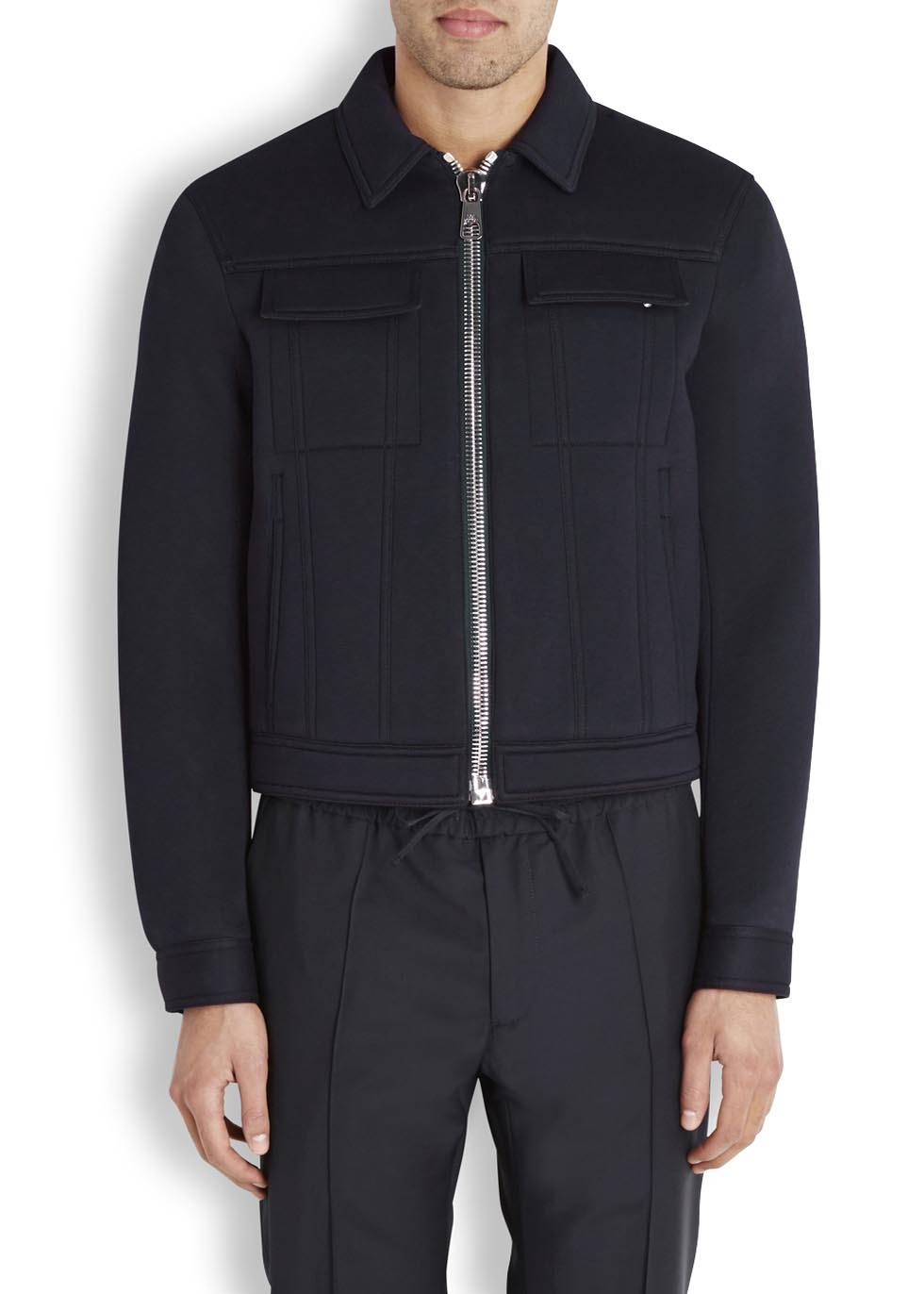 Neil Barrett Navy Neoprene Harrington Jacket in Blue for Men