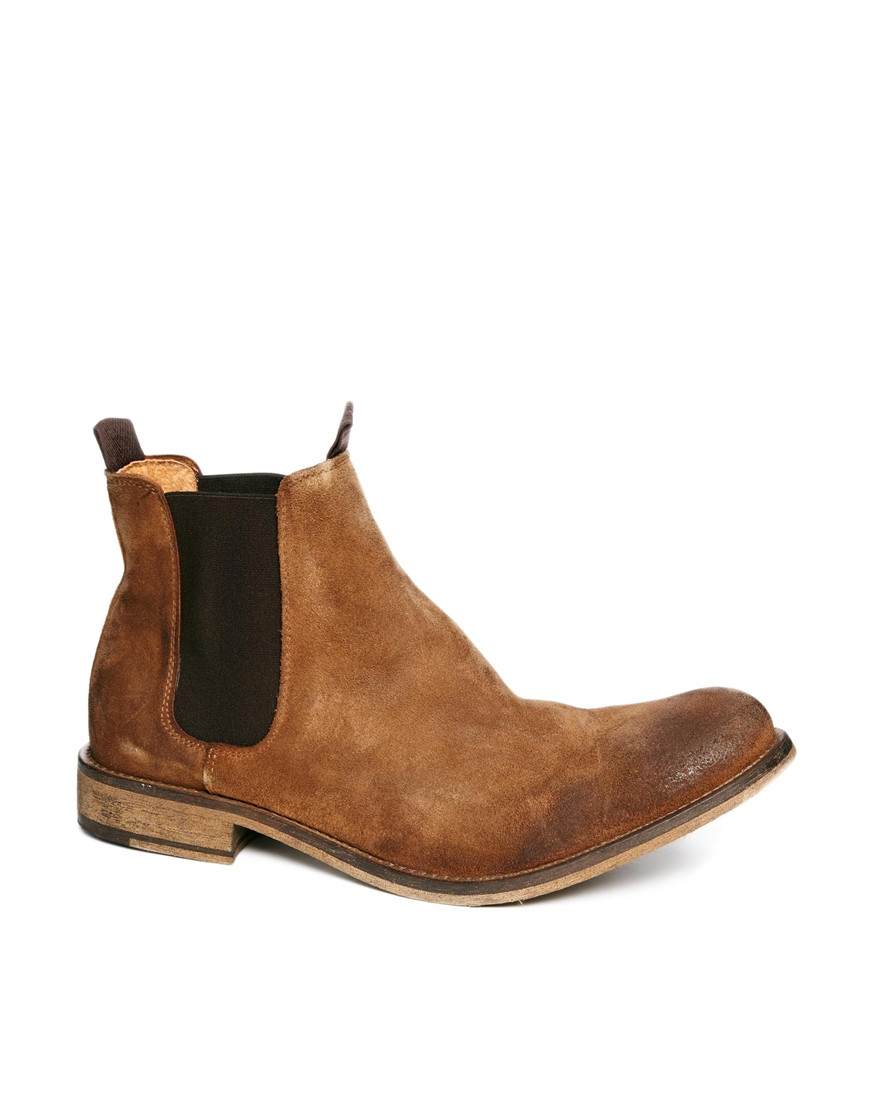 selected homme melvin suede chelsea boots in brown for