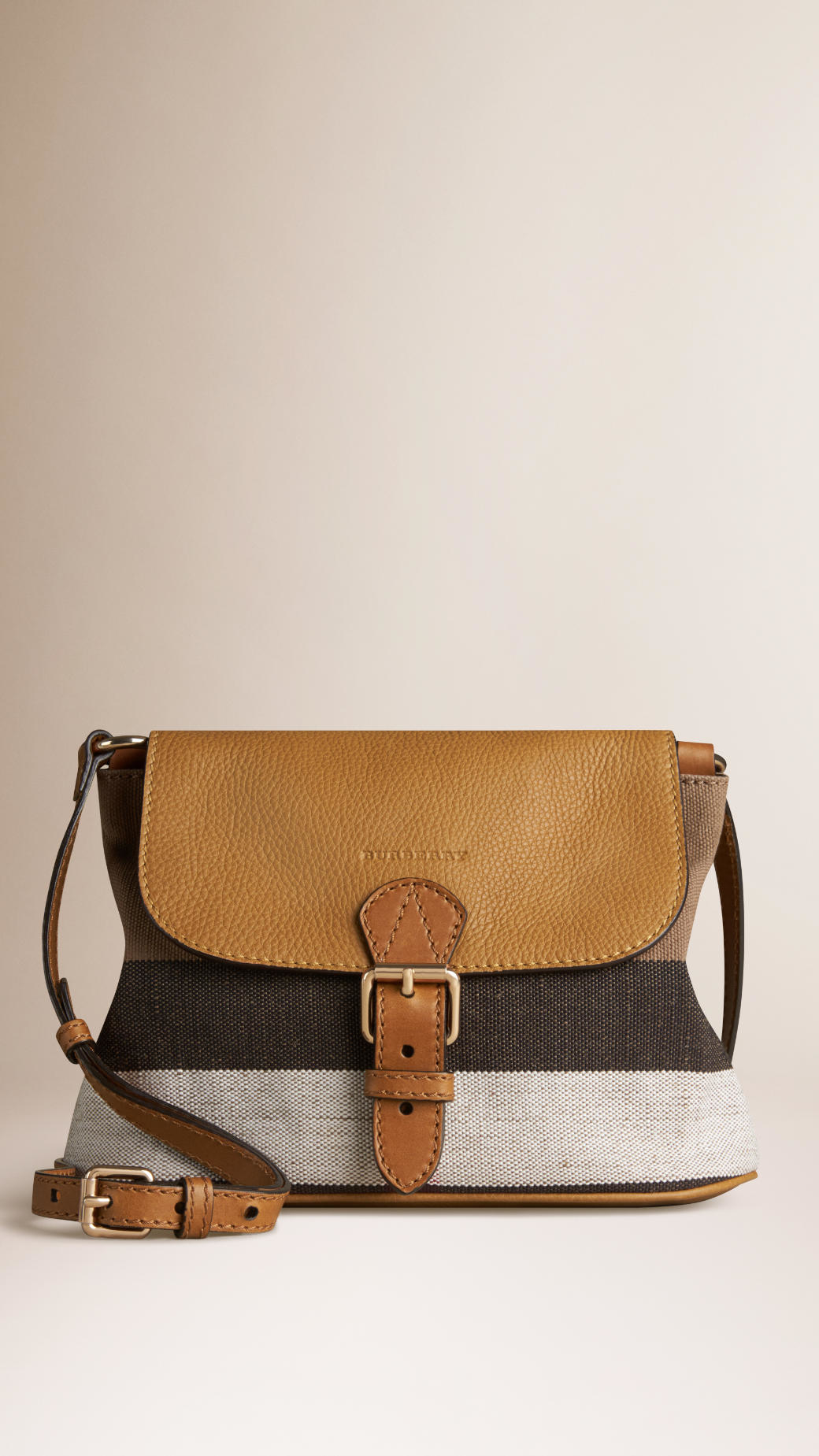 2cc39a00e577 Burberry Small Canvas Check And Leather Crossbody Bag in Brown - Lyst