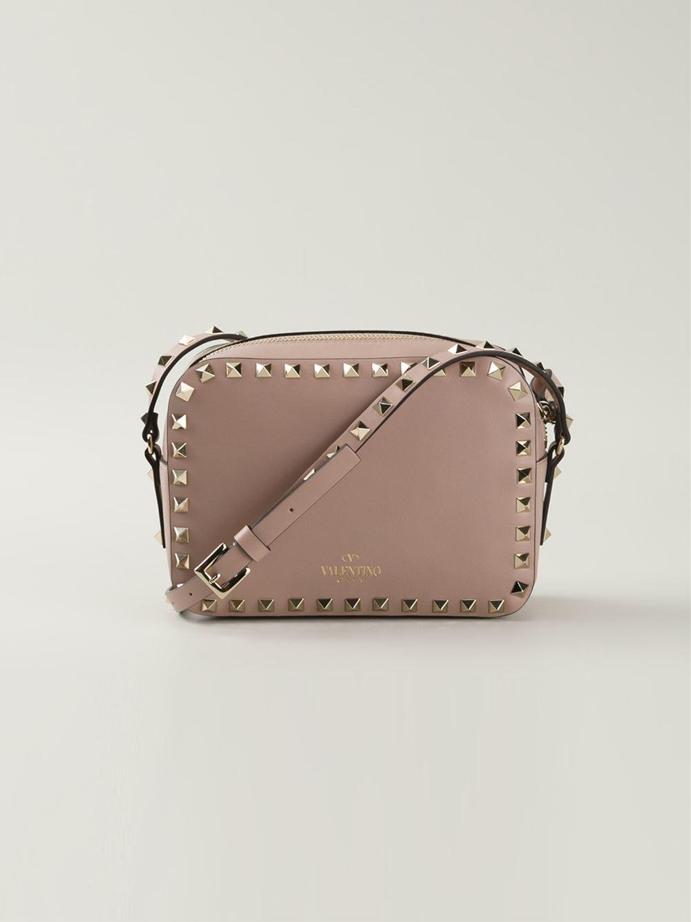 Valentino Rockstud Crossbody Bag In Natural Lyst