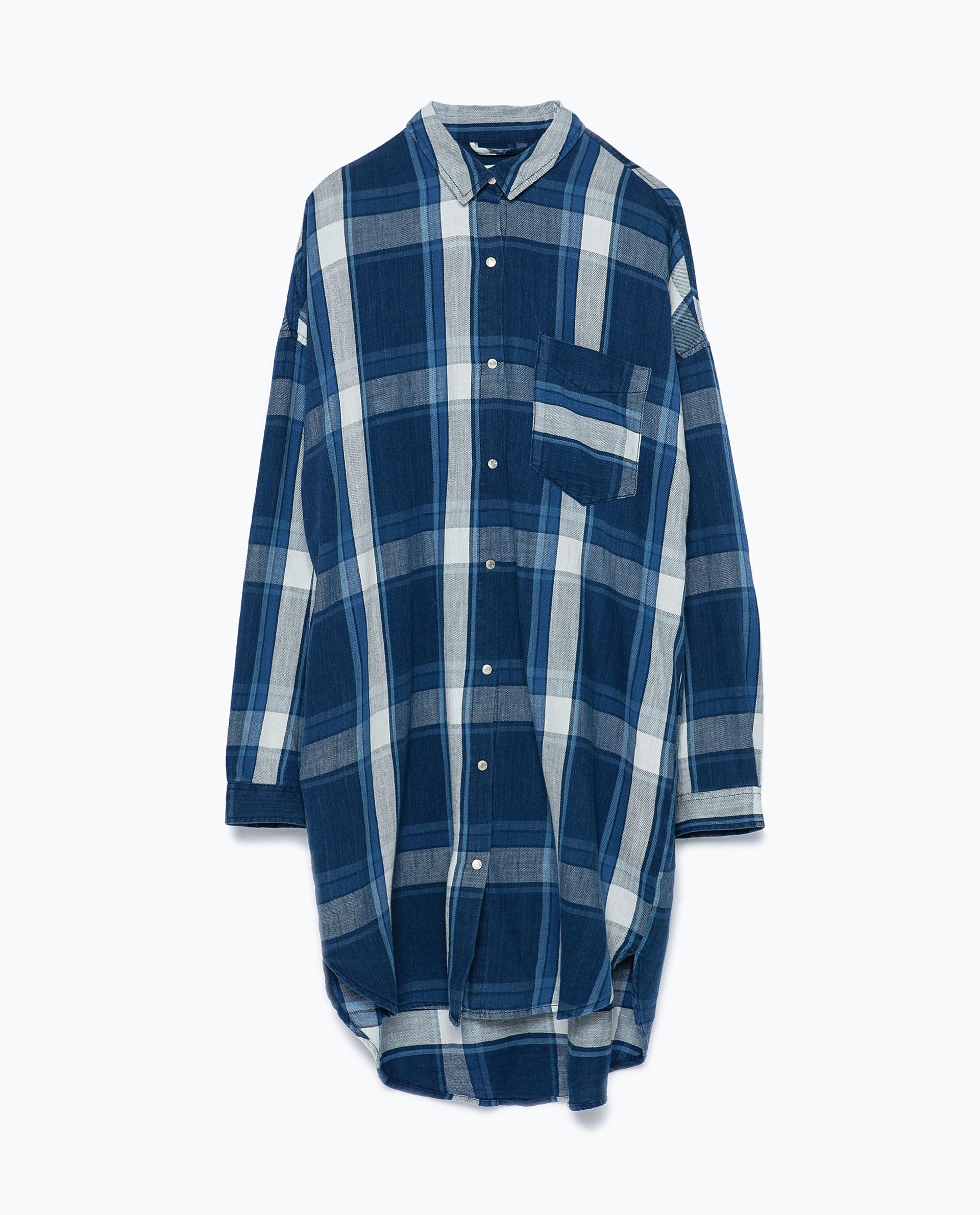 Zara Checked Shirt Dress In Blue Lyst