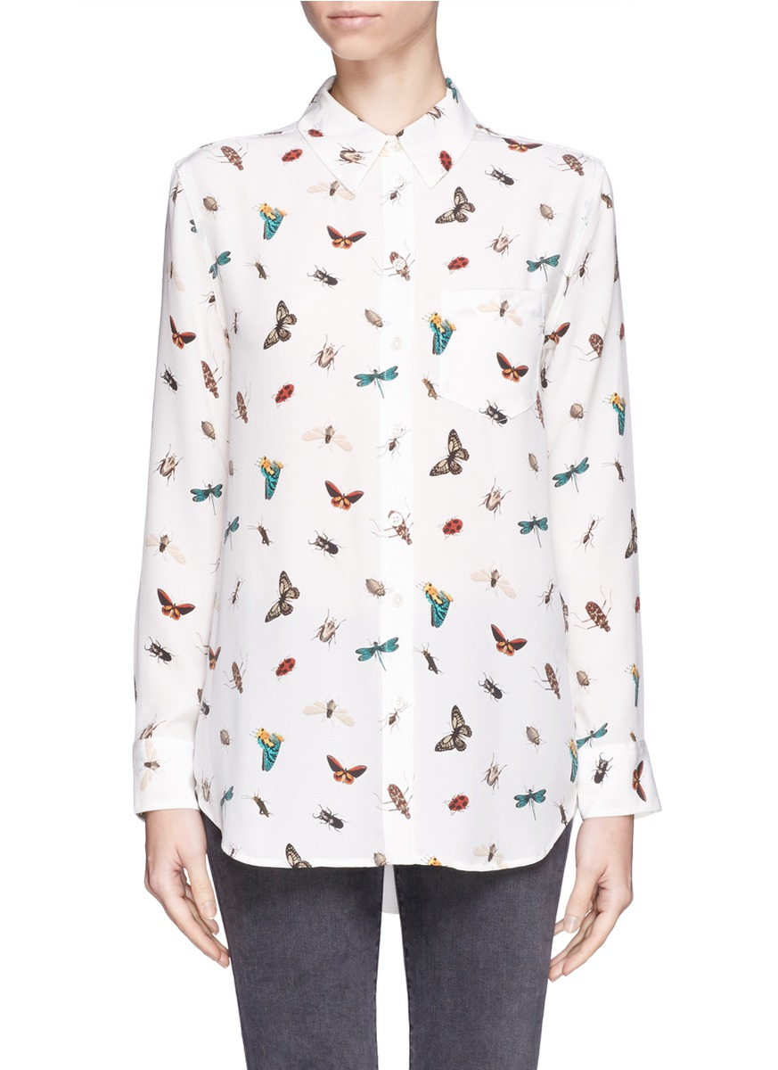 Equipment Reese Insect Print Silk Shirt In Multicolor