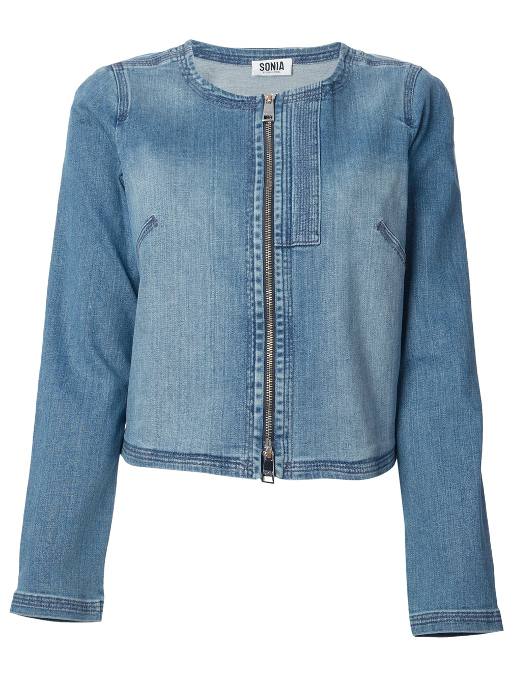 Gallery. Previously sold at: FarFetch · Women's Collarless Jackets - Sonia By Sonia Rykiel Collarless Denim Jacket In Blue Lyst