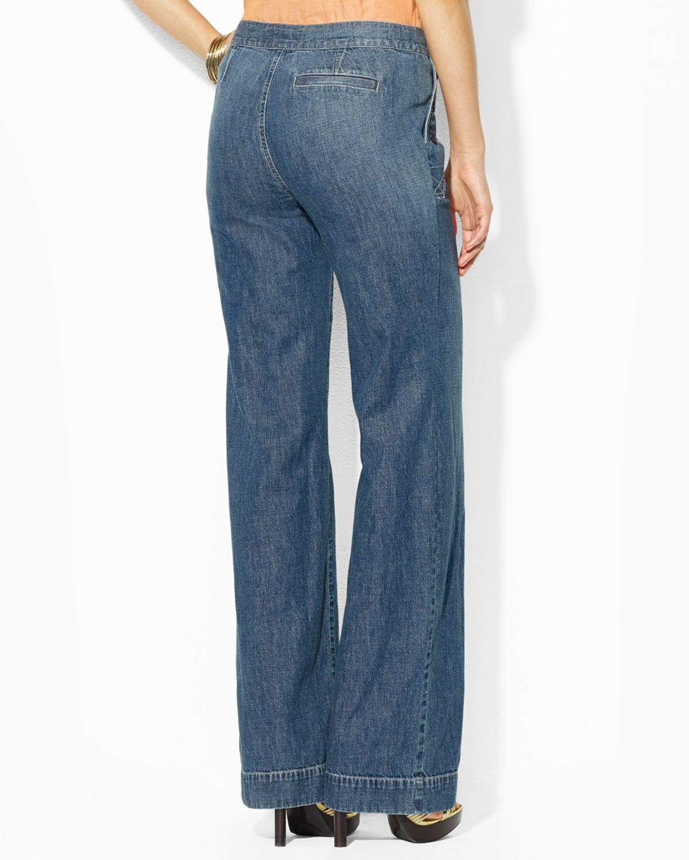 Ralph lauren Wide Leg Jeans in Blue | Lyst