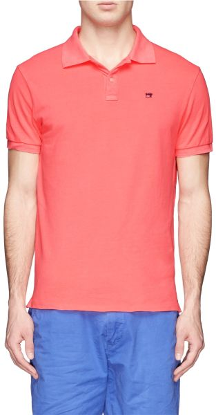 scotch soda garment dyed piqu polo shirt in pink for men lyst. Black Bedroom Furniture Sets. Home Design Ideas