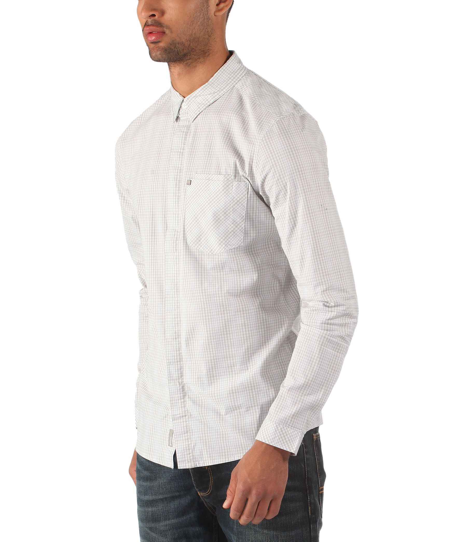 Bench Zerroed Long Sleeve Slim Fit Check Shirt In White