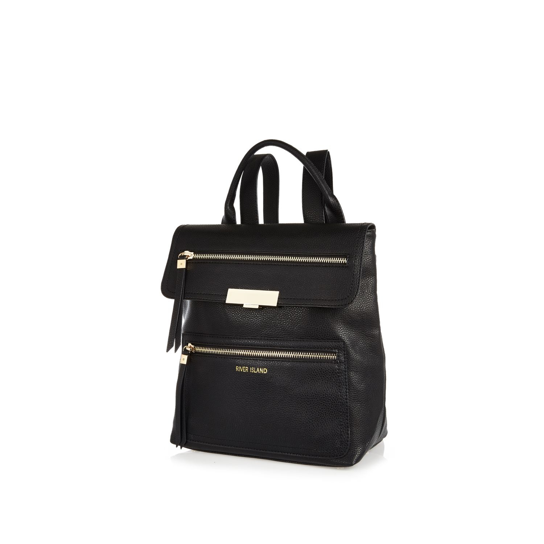 River Island Black Simple Zip Backpack