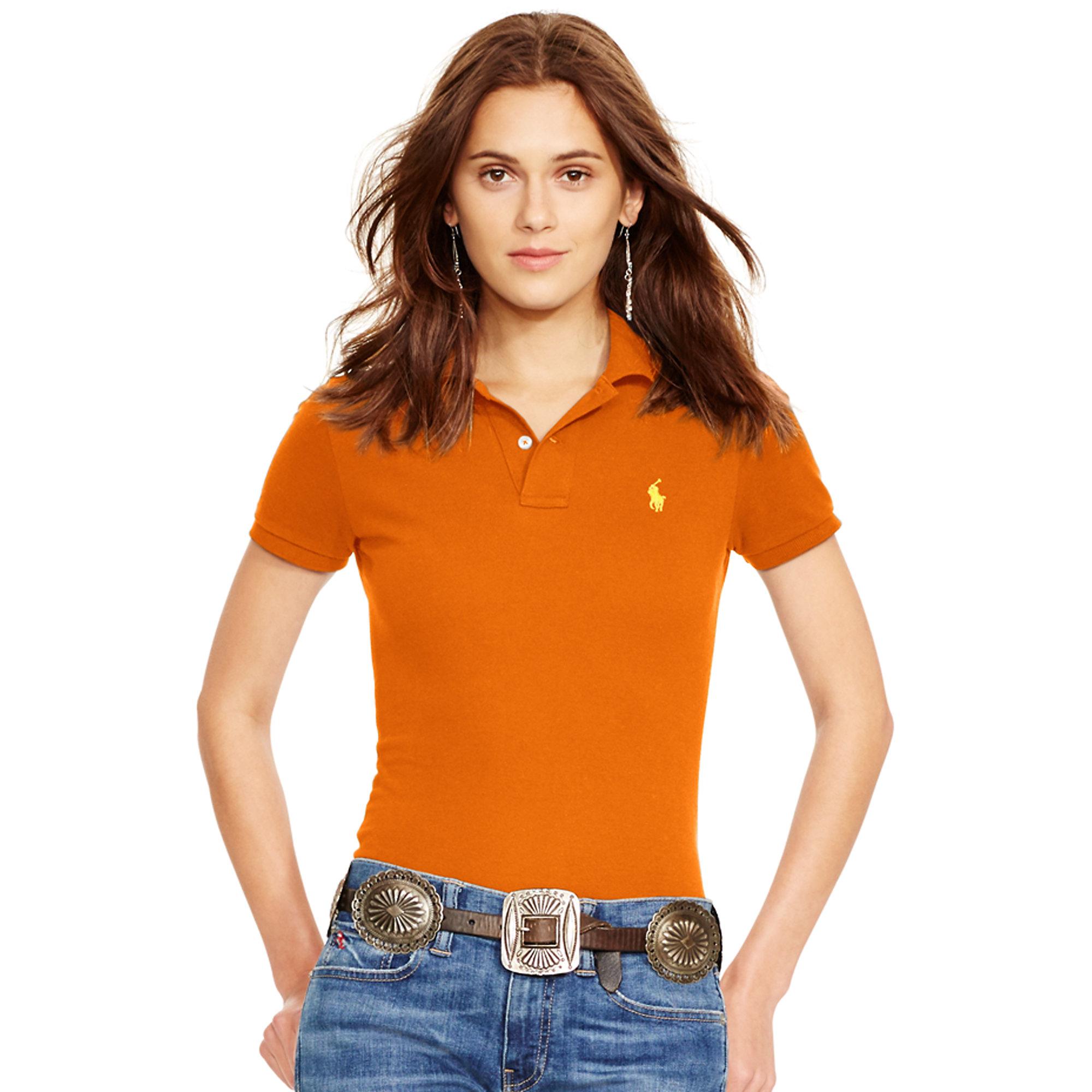 Shirt Polo Fit Orange Lauren Skinny Ralph bYgf6y7