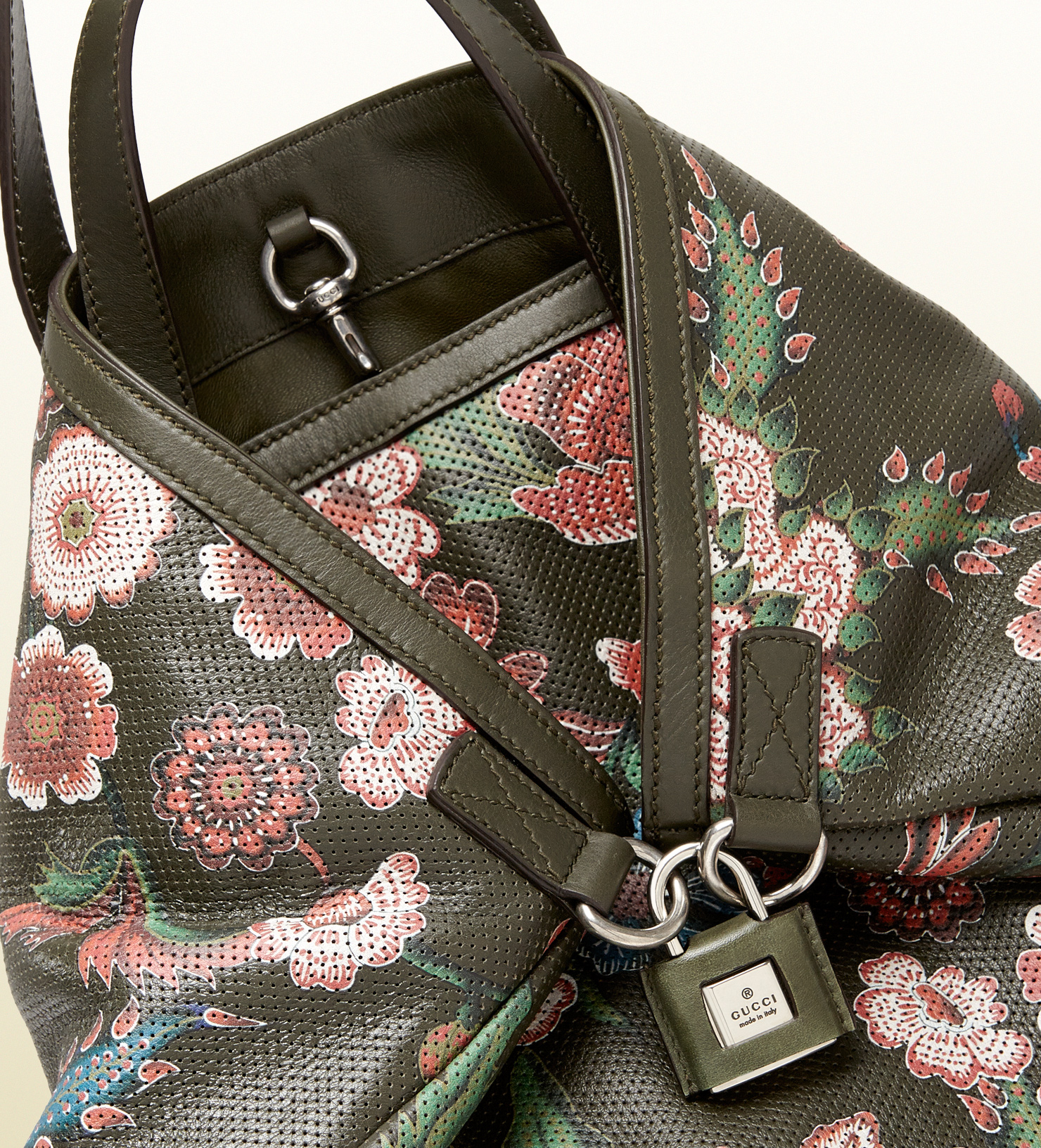 15026a64dd4 Lyst - Gucci Gactive Flower Print Perforated Leather Backpack in ...