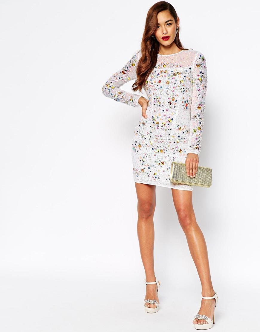 17309b08414 ASOS Red Carpet Premium Mermaid Iridescent Mini Bodycon Dress in ...