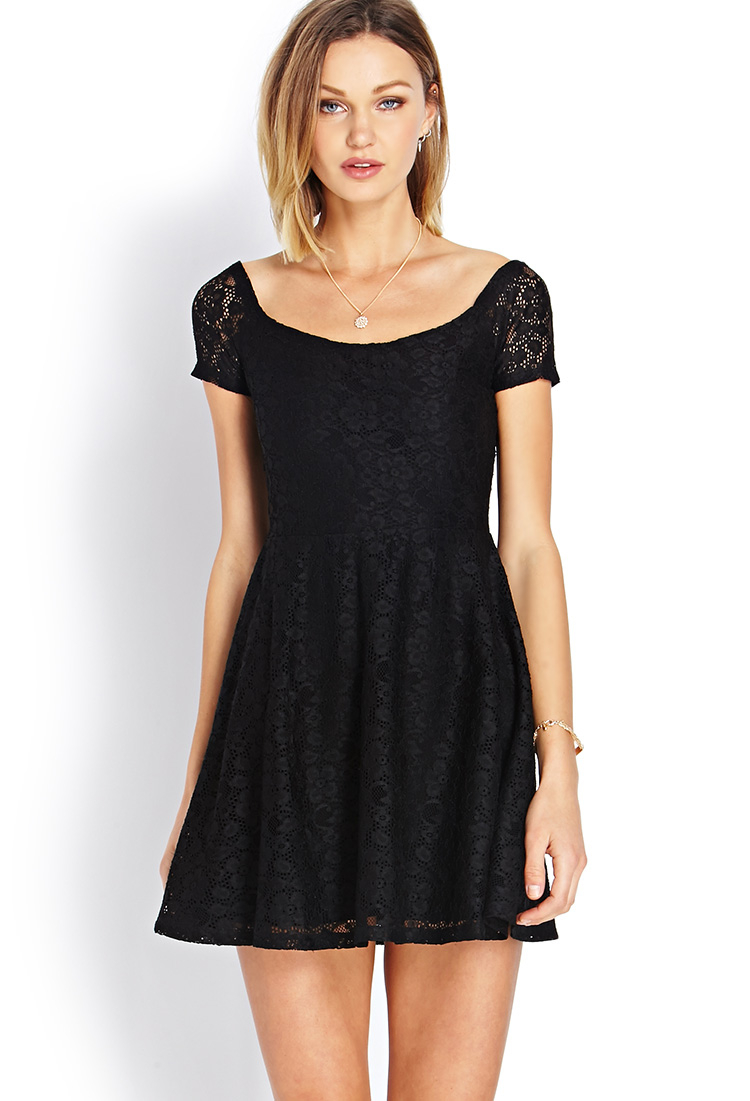 Forever 21 Black Lace Dress with Sleeves