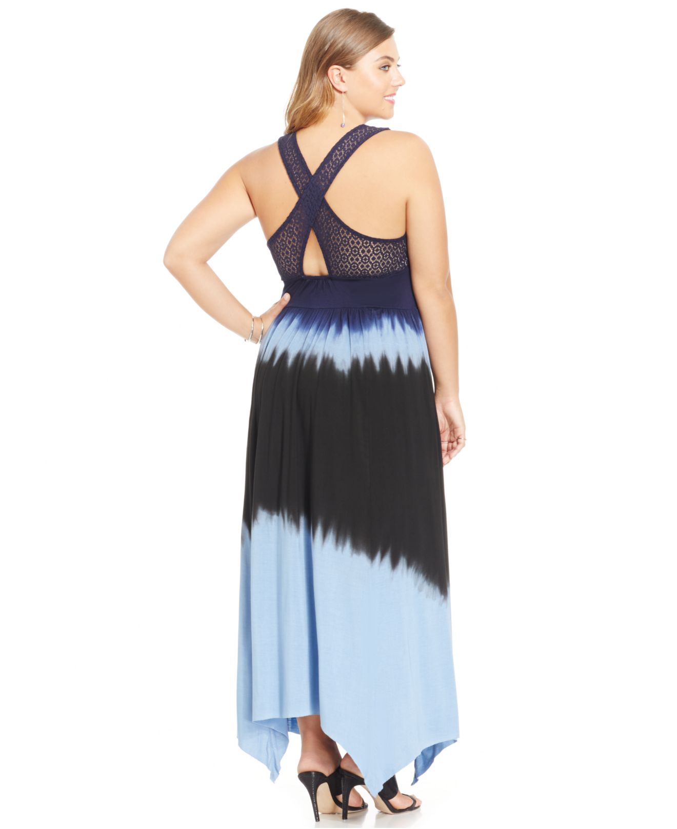Plus Size Cross-Back Tie-Dye Maxi Dress
