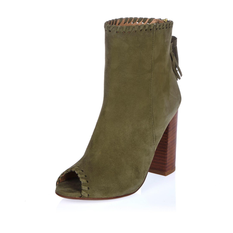 river island khaki suede peep toe shoe boot in lyst